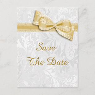 15th Birthday Damask And Faux Bow Save The Date Announcement Postcard