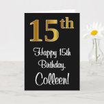 [ Thumbnail: 15th Birthday ~ Elegant Luxurious Faux Gold Look # Card ]