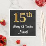 [ Thumbnail: 15th Birthday ~ Elegant Luxurious Faux Gold Look # Napkins ]
