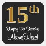 [ Thumbnail: 15th Birthday – Elegant Luxurious Faux Gold Look # Sticker ]