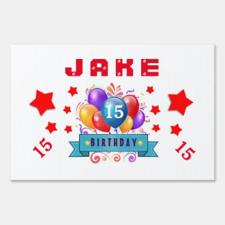 15th Birthday Festive Balloons and Red Stars 104Z Lawn Sign