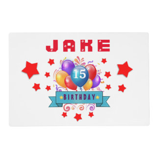 15th Birthday Festive Balloons and Red Stars 104Z Placemat