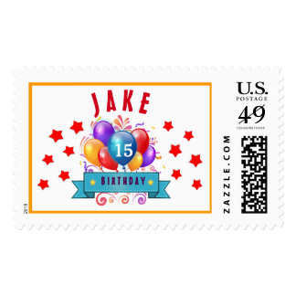 15th Birthday Festive Balloons and Red Stars 104Z Postage