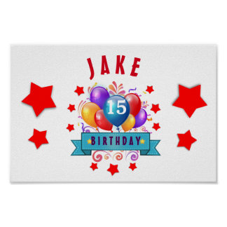 15th Birthday Festive Balloons and Red Stars 104Z Poster