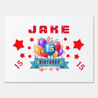 15th Birthday Festive Balloons and Red Stars 104Z Yard Sign