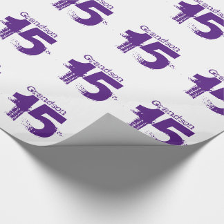 15th birthday for a grandson, purple on white. wrapping paper
