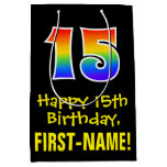 "[ Thumbnail: 15th Birthday: Fun, Bold, Colorful, Rainbow ""15"" Gift Bag ]"
