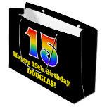 [ Thumbnail: 15th Birthday ~ Fun, Colorful, Vibrant, Rainbow 15 Gift Bag ]