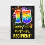 [ Thumbnail: 15th Birthday: Fun Fireworks Pattern + Rainbow 15 Card ]