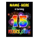 "[ Thumbnail: 15th Birthday - Fun Fireworks, Rainbow Look ""15"" Postcard ]"
