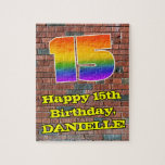 [ Thumbnail: 15th Birthday: Fun Graffiti-Inspired Rainbow 15 Jigsaw Puzzle ]