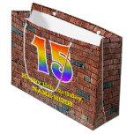 [ Thumbnail: 15th Birthday: Fun, Graffiti-Inspired Rainbow # 15 Gift Bag ]
