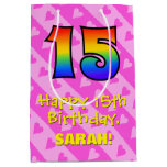[ Thumbnail: 15th Birthday: Fun Pink Hearts Stripes; Rainbow 15 Gift Bag ]