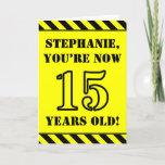 [ Thumbnail: 15th Birthday: Fun Stencil Style Text, Custom Name Card ]
