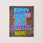 [ Thumbnail: 15th Birthday ~ Fun, Urban Graffiti Inspired Look Jigsaw Puzzle ]