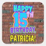 [ Thumbnail: 15th Birthday – Fun, Urban Graffiti Inspired Look Sticker ]