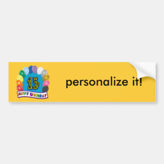 15th Birthday Gifts with Assorted Balloons Design Bumper Sticker