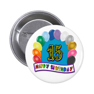 15th Birthday Gifts with Assorted Balloons Design Pin