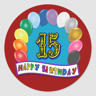 15th Birthday Gifts with Assorted Balloons Design Classic Round Sticker