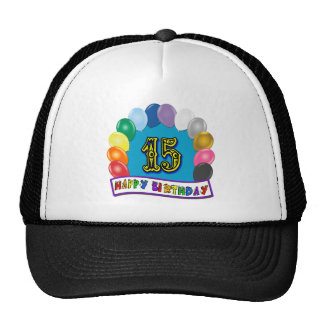 15th Birthday Gifts with Assorted Balloons Design Trucker Hat