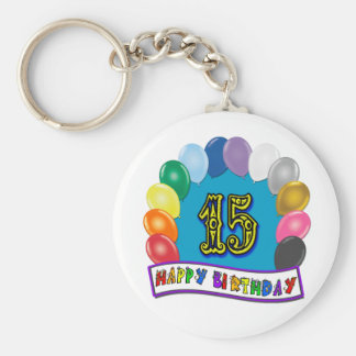 15th Birthday Gifts with Assorted Balloons Design Basic Round Button Keychain