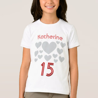 15th Birthday Girl Oodles of Hearts 15 Years T-Shirt