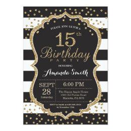 15th Birthday Invitation. Black and Gold Glitter Card