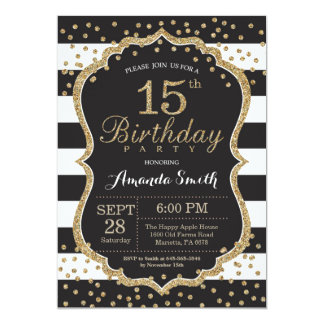 15th Birthday Invitation. Black and Gold Glitter Card