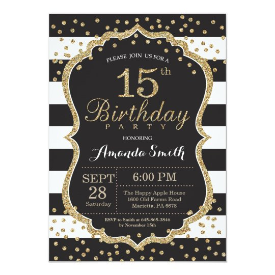 15th Birthday Invitation Black And Gold Glitter Zazzle Com