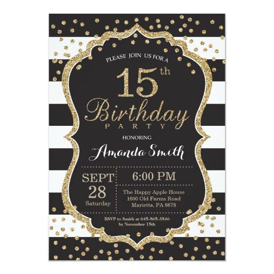 15th Birthday Invitation Black And Gold Glitter
