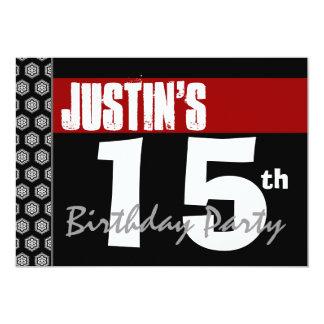 15th Birthday Modern Red White Black Stars W768 Personalized Invites