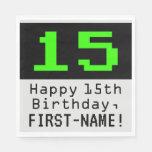 """[ Thumbnail: 15th Birthday - Nerdy / Geeky Style """"15"""" & Name Napkins ]"""