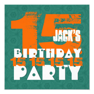 15th Birthday Party 15 Year Old Grunge TEAL B15A Card