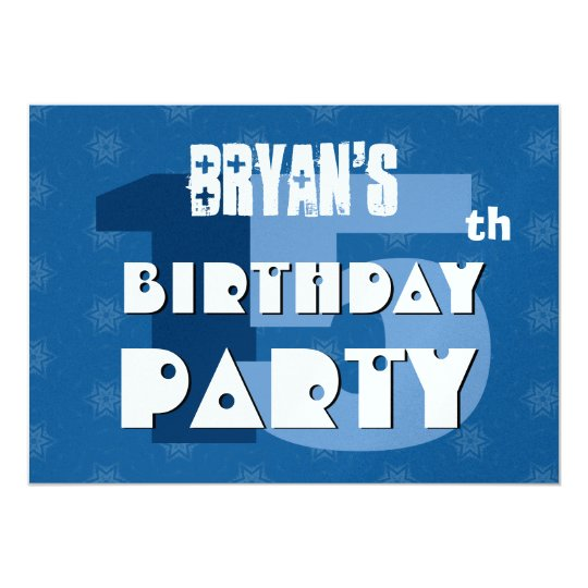 15th Birthday Party 15 Years Blue Stars G542 Card