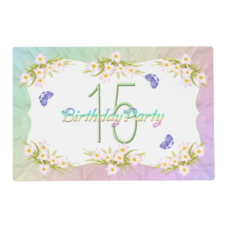 15th Birthday Party Butterflies and Wildflowers Placemat