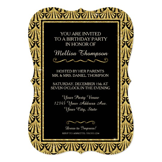 15TH Birthday Party Glam Great Gatsby Style Card – Great Gatsby Party Invitations