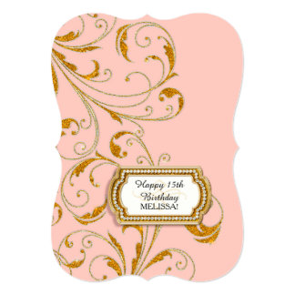 "15TH Birthday Party Glam Old Hollywood Regency 5"" X 7"" Invitation Card"