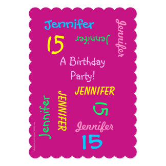 15th Birthday Party Hot Pink Personalized, Names Card