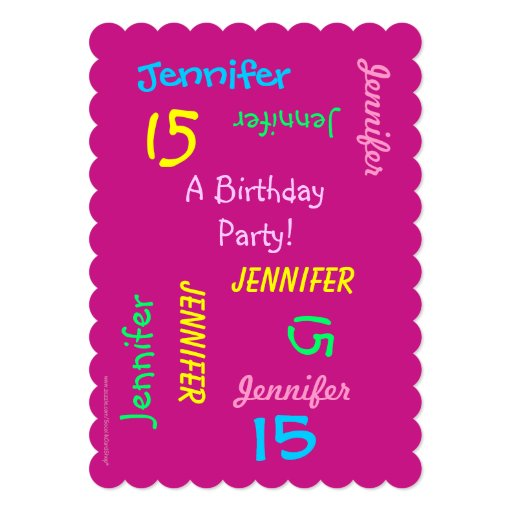 15th Birthday Party Hot Pink Personalized, Names Card  Zazzle