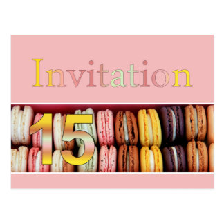15th Birthday party invitation macaron Postcard
