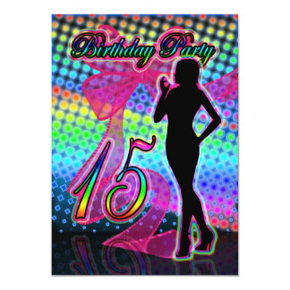 15th Birthday Party Invitation, Neon With Female S 5x7 Paper Invitation Card