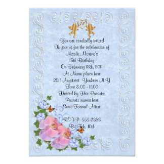15th birthday party invitation orchids on blue