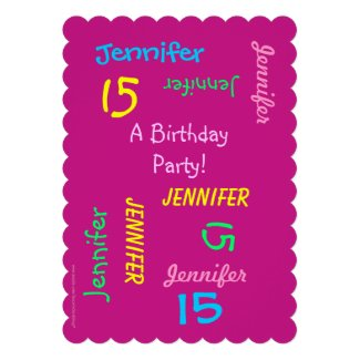 15th Birthday Party Invitation Personalized, Names