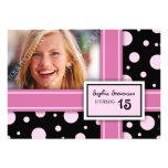15th Birthday Party Invitation Pink Black Dots