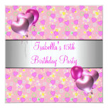 """15th Birthday Party Pink Hearts Silver Balloons 5.25"""" Square Invitation Card"""