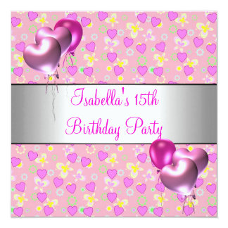 15th Birthday Party Pink Hearts Silver Balloons 5.25x5.25 Square Paper Invitation Card