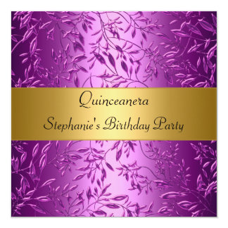 15th Birthday Party quinceanera Gold Pink Personalized Announcement