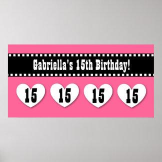 15th Birthday Pink Black Hearts Banner Custom V15H Poster