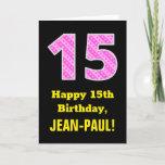 "[ Thumbnail: 15th Birthday: Pink Stripes and Hearts ""15"" + Name Card ]"