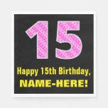 "[ Thumbnail: 15th Birthday: Pink Stripes and Hearts ""15"" + Name Napkins ]"